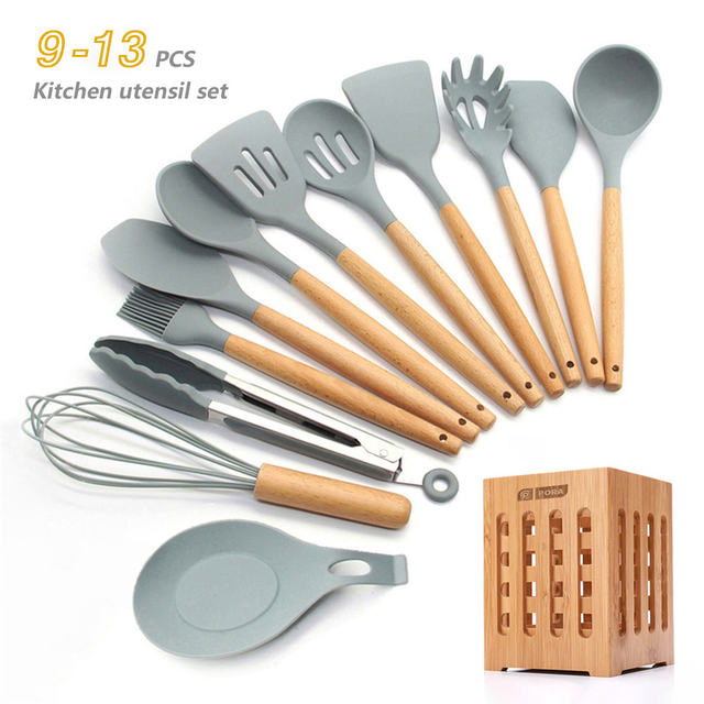Silicone Cookware Set, Non-stick Spatula Wooden Handle with Storage Box