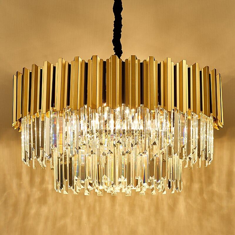 Современный Роскошный Золотой светодиодный прозрачная Хрустальная люстра, используется для 110 V-220 V, гостиной, столовой, спальня бар с E14