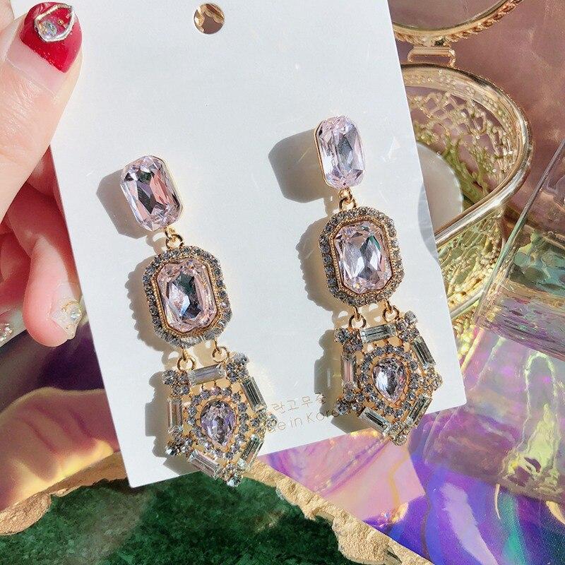 Купить mengjiqiao модные корейские квадратные розовые кристальные висячие