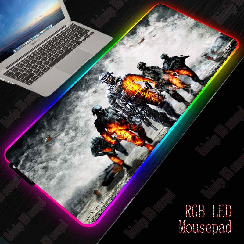 Yuzuoan DIY Custom RGB LED Game Mouse Pad Battlefield Large RGB E sports Non slip USB LED Rainbow Backlit Rubber Computer Pad|Mouse Pads| |  - title=
