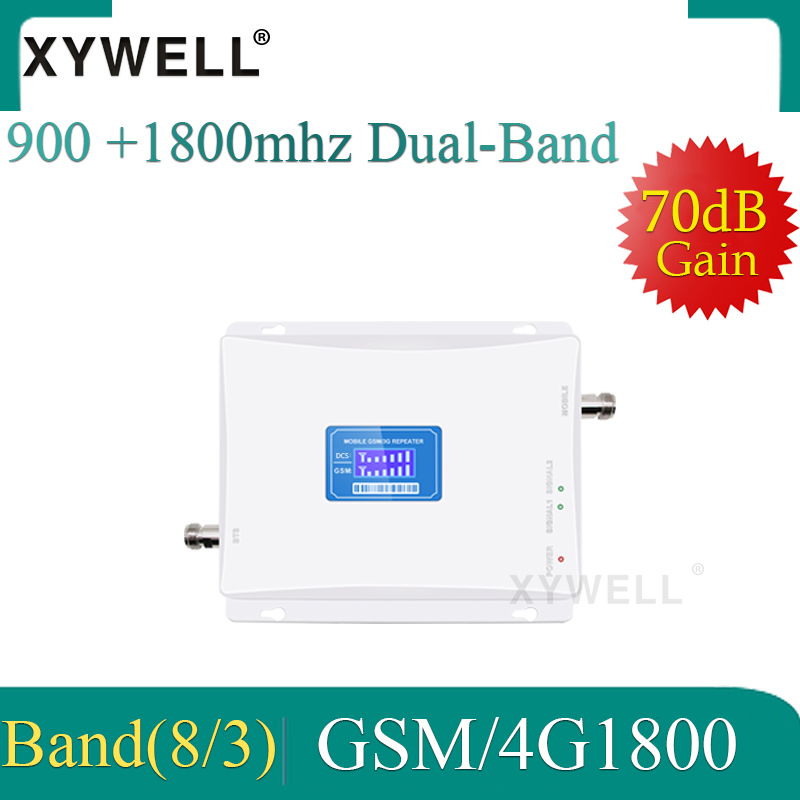 XYWELL 4G Cellular Signal Booster LTE 1800 Cellular Signal Repeater GSM 900 Mobile Amplifier 2G 4G 70dB Dual Band Signal Booster