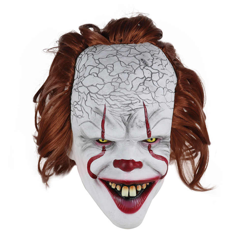 2019 Film di Stephen King's 2 Joker Pennywise Maschera Pieno Viso Horror Clown Maschera In Lattice Del Partito di Halloween Maschera Orribile cosplay Prop