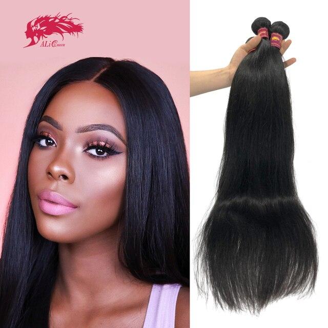 "Ali Queen Hair Brazilian Straight Raw Virgin Hair Bundles Natural Black Color 6"" to 38"" 100% Unprocesse Human Hair Weaving"
