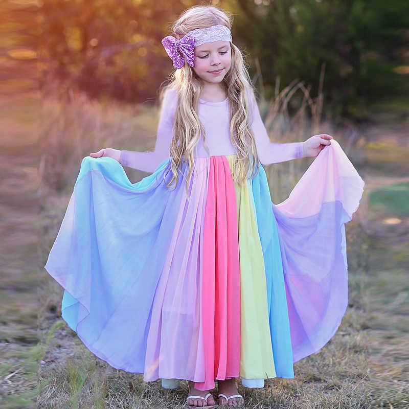 2019 イン秋長袖シフォンドレスの新レインボードレスカラフルな色のドレス子供の王女のパーティードレス