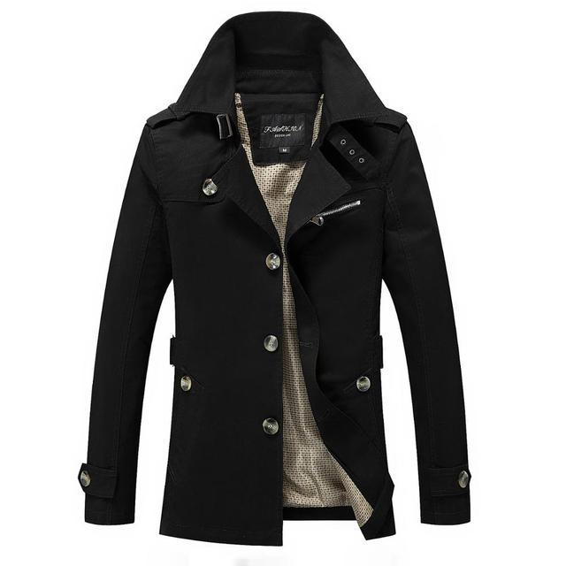 Brand Men Jacket Coats Fashion Trench Coat New Autumn Casual Silm Fit Overcoat Black Bomber Jacket Male long jacket Men M-5XL 4