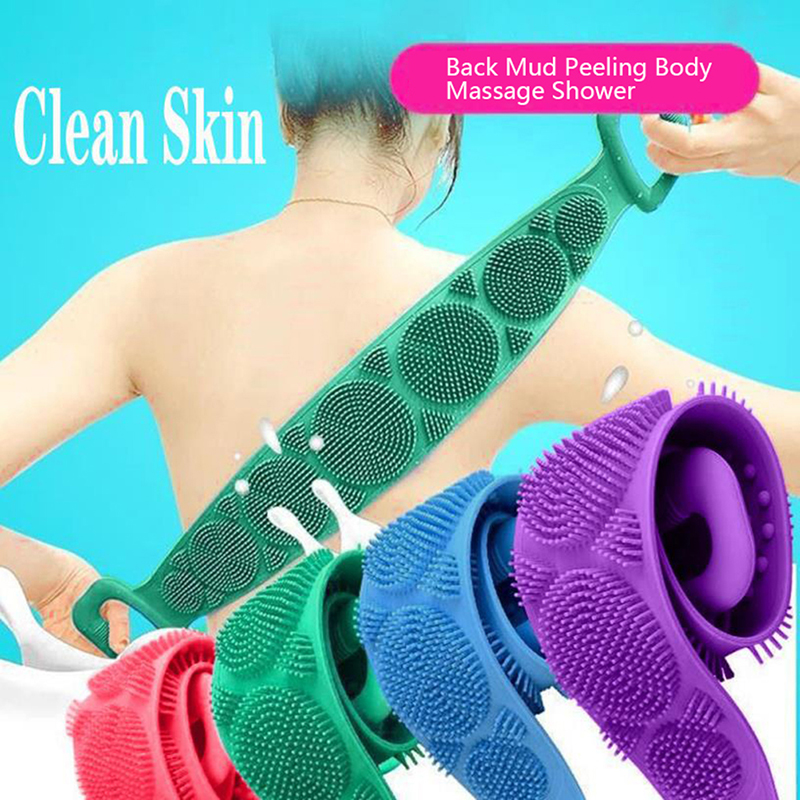 1Pcs Silicone Brushes Bath Towels Rubbing Back Mud Peeling Body Massage Shower Extended Scrubber Skin Clean Brushes