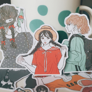 Image 3 - Adesivos para meninas 15 pçs/saco kawaii, adesivos de scrapbooking pintados à mão, bonita série de meninas, diários, planos feliz, adesivos decorativos