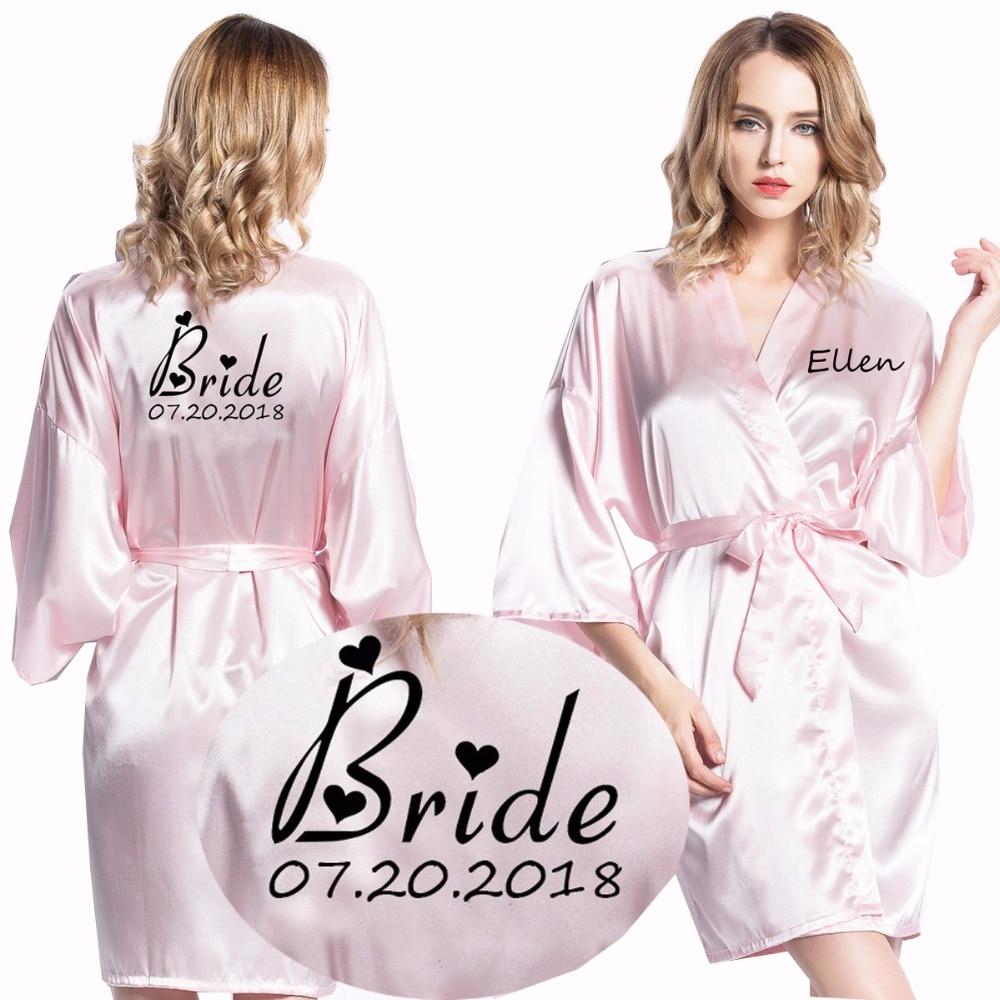 Personalized Custom Women Robes Satin Silk Printed Gown Sexy Bridal Wedding Bride Bridesmaid Robe Kimono Short Bathrobe Robe New