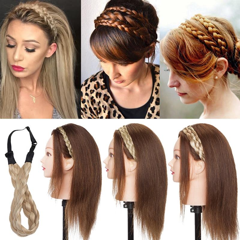 BENEHAIR Braided Headbands Fake Hair Plaited Hair Band Braiding Hair Accessories Synthetic Hair Extension Hairpiece For Women