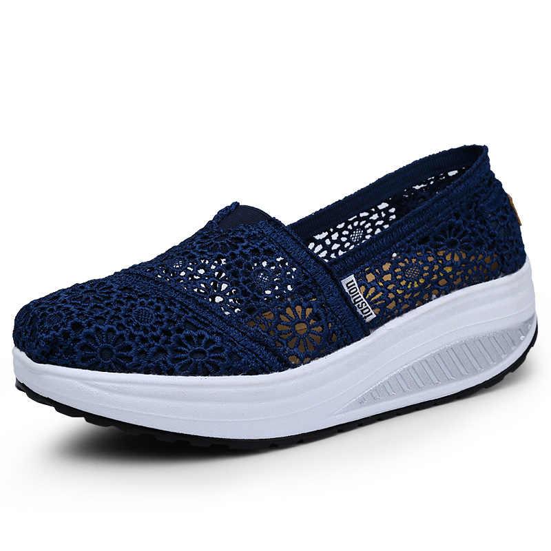 Wanita Mesh Hollow Sepatu 2020 Musim Semi dan Musim Panas Perempuan Keren Net Sepatu Bernapas Renda Shake Wanita Sepatu Kasual Sneakers