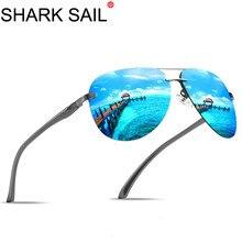 SHARK ZEIL Aluminium Magnesium mannen Zonnebril Mannen Gepolariseerde Coating Spiegel Bril Oculos Mannelijke Eyewear Accessoires Voor Mannen