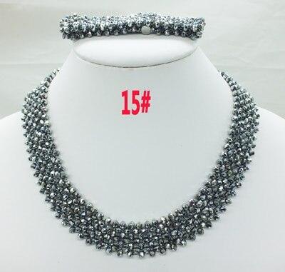 Новая цена-Африка, Нигерия, самый популярный ювелирный набор с кристаллами для невесты - Окраска металла: 15