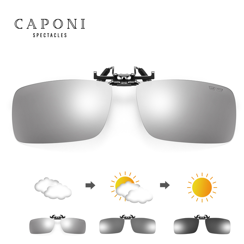 Image 2 - CAPONI Sunglasses Clip Men Photochromic Polarized Vintage Day And Night Eye Glasses Clip UV400 Protect Driving Eyewear BS1101Mens Sunglasses   -