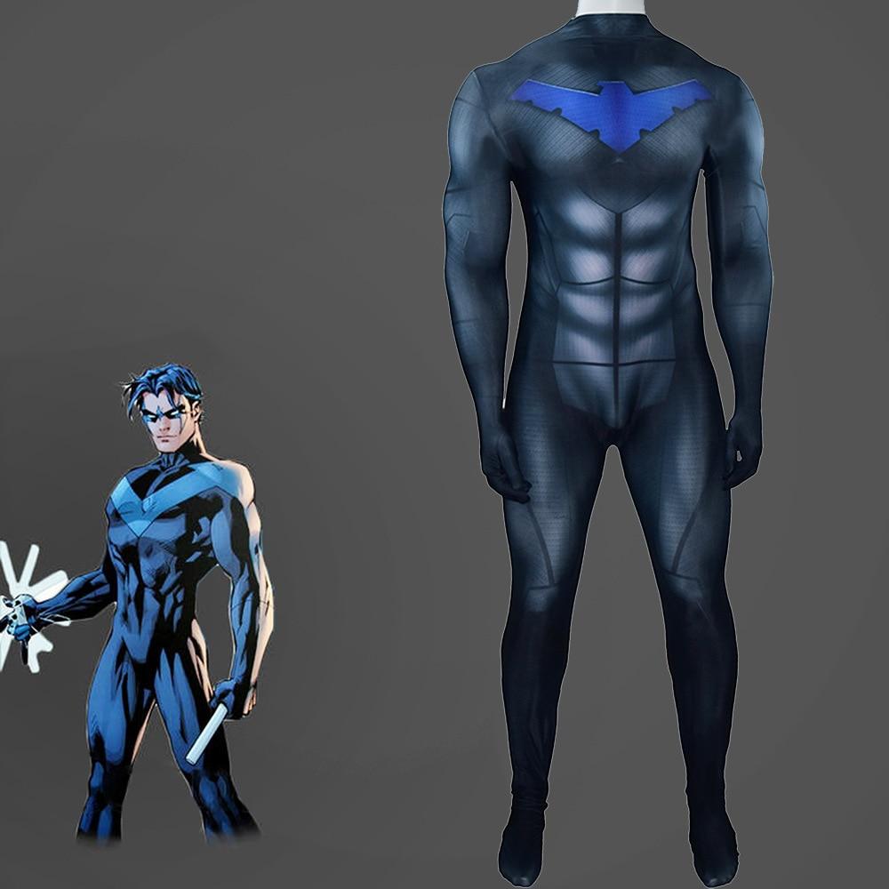 Nightwing Dick Grayson Cosplay Costume Superhero Batman Tight Jumpsuit Adult Child Masquerade Performance Clothing