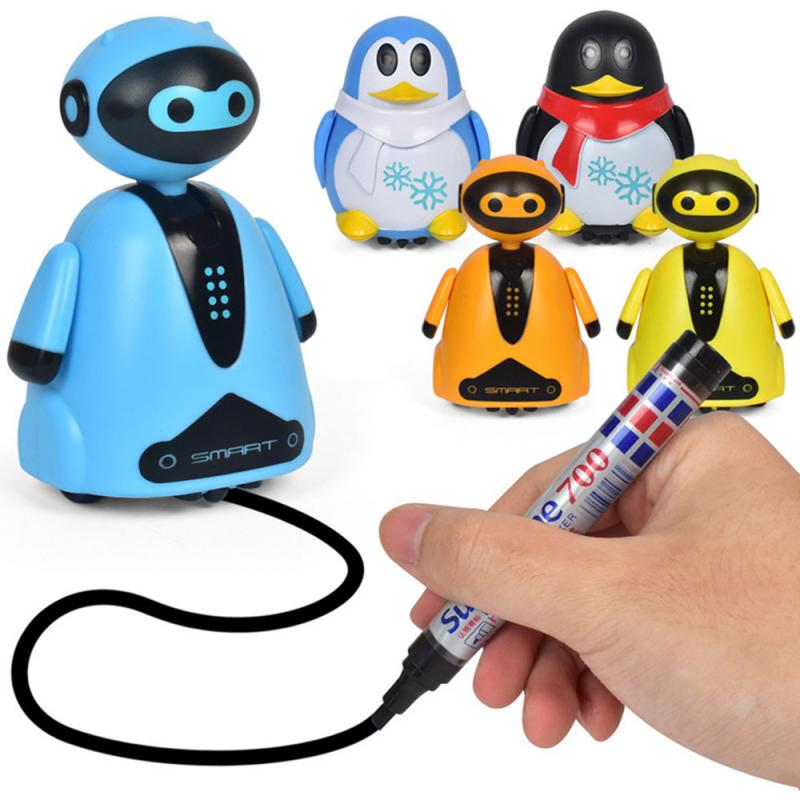 Strokes Walking Penguin Tank Car Electric Walking Light Penguin Toy Automatic Sensing Kids Toys Induction Boy UK For Xmas Gift