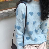Colorful Heart Women Knitting Sweater Autumn New Long Sleeve Turtleneck Pullovers Sweaters