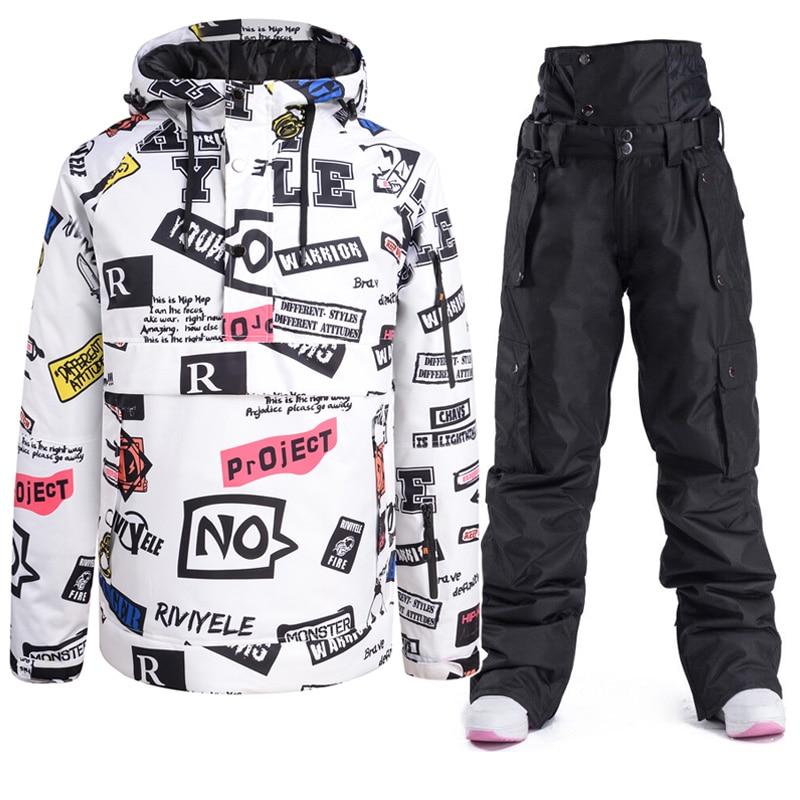 Новый Зимний теплый лыжный комплект с капюшоном для мужчин и женщин парный лыжный костюм ветрозащитная водонепроницаемая куртка и брюки лы...