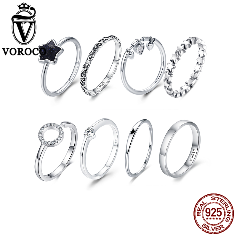 VOROCO Real 100% 925 Sterling Silver Wedding Rings For Women Original Design Silver 925 Jewelry Female Fashion  Jewelry  Gifts