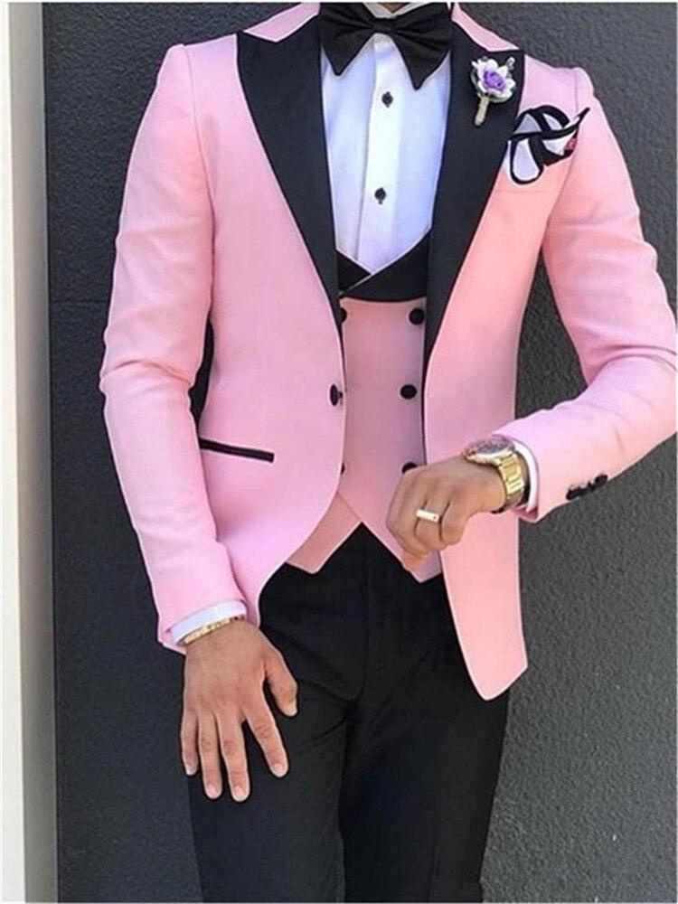 Мужской костюм, розовый с черным, костюмы с лацканами для мужчин, на заказ, Terno, тонкий, для жениха, на заказ, 3 предмета, для свадьбы, Masculino (пиджак + брюки + жилет) - 2