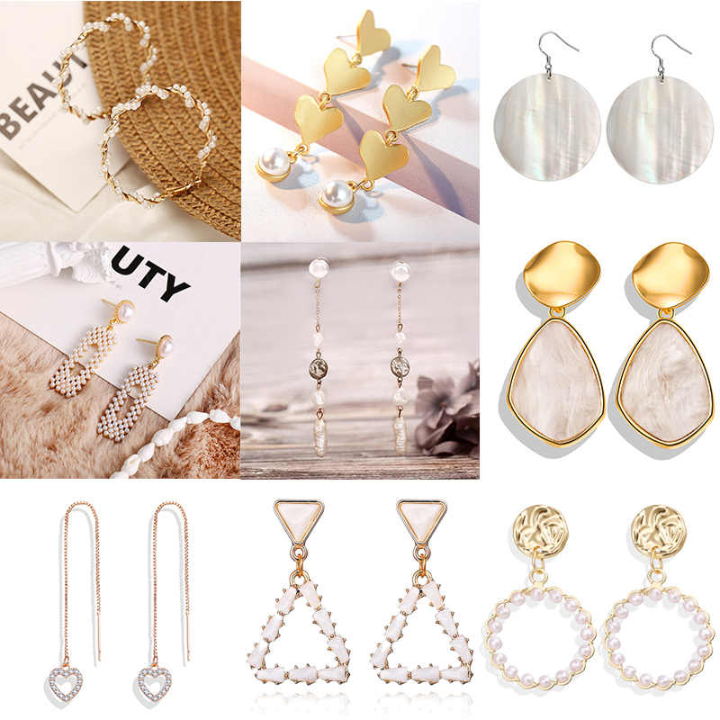 IF YOU Korean Pearl Geometric Crystal Dangle Earring For Women Fashion Round Gold Color Fashion Drop Earrings Jewelry 2019 New