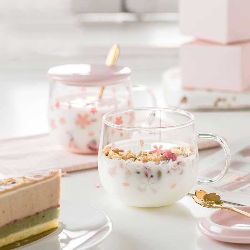 400ml Sakura Glass Coffee Mug With Spoon&Ceramic Lid Heat Resistant Tea Cup Set Transparent Breakfast Milk Juice Drinking Glass
