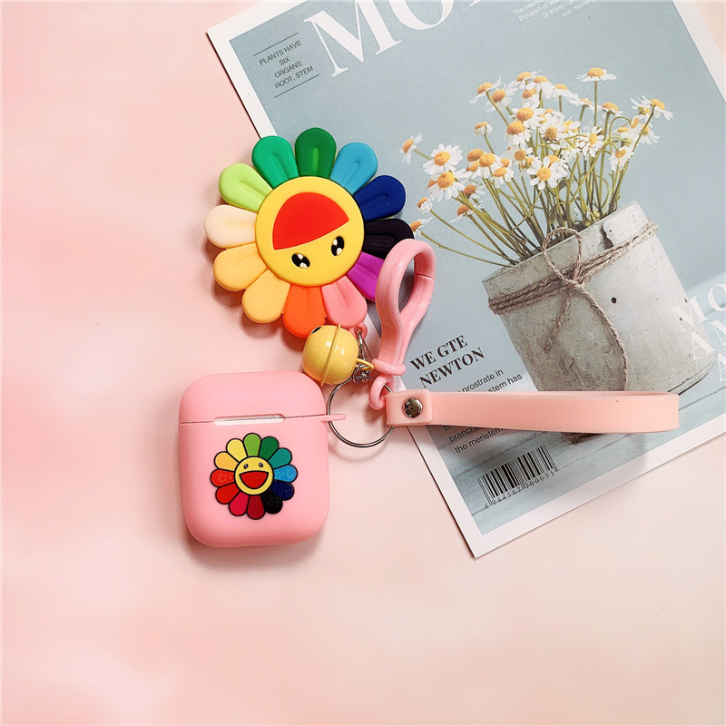 For <font><b>Apple</b></font> <font><b>Airpods</b></font> 1/2 Fashionista Murakami Takashi Kaikai Kiki Sun Rainbow Flower Pendant Strap <font><b>Silicone</b></font> Earphone Cover <font><b>Cases</b></font> image