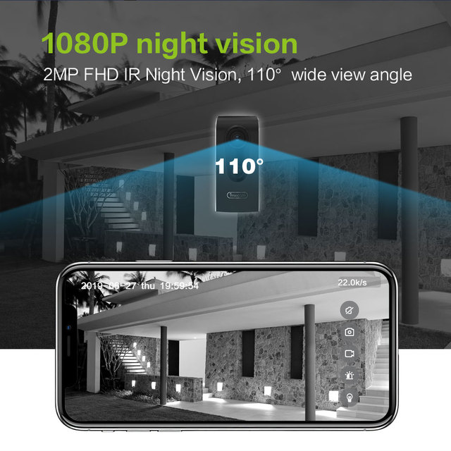 WOHOME Wireless Rechargeable Battery Powered WiFi Camera Outdoor//Indoor,1080P Home Security Camera with Night Vision,2 Way Audio,Cloud,IP65 Waterproof,Compatible with Alexa//Google