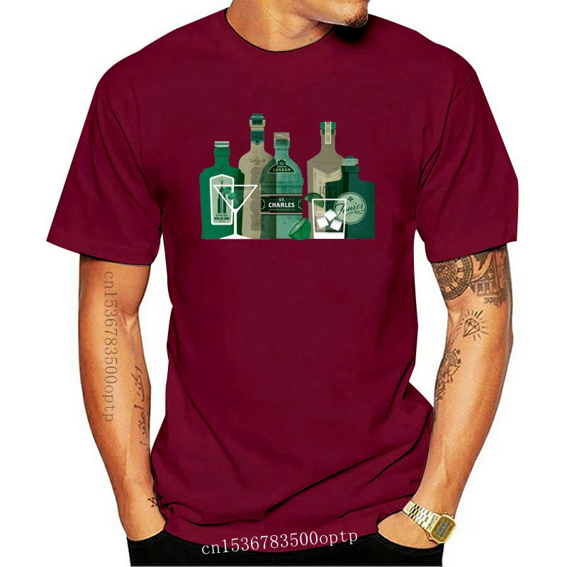Printed T-Shirt Men IT'S A GIN WORLD, ALCOHOL, SPIRIT, JUNIPER BERRIES T Shirt O-Neck T Shirt