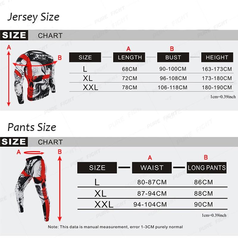 SUOTF Boxing Set Compression Jersey+Pants Skull Rashguard KickBoxing Tight Long T-Shirts Trousers Muay Thai MMA Fightwear