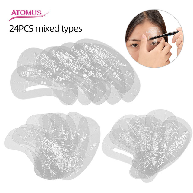 24pcs/pack Mixed Types Eyebrow Stencil Kit Makeup Tools DIY Beauty Eyebrow Template Stencil For Women Beauty Tools Accessories 1