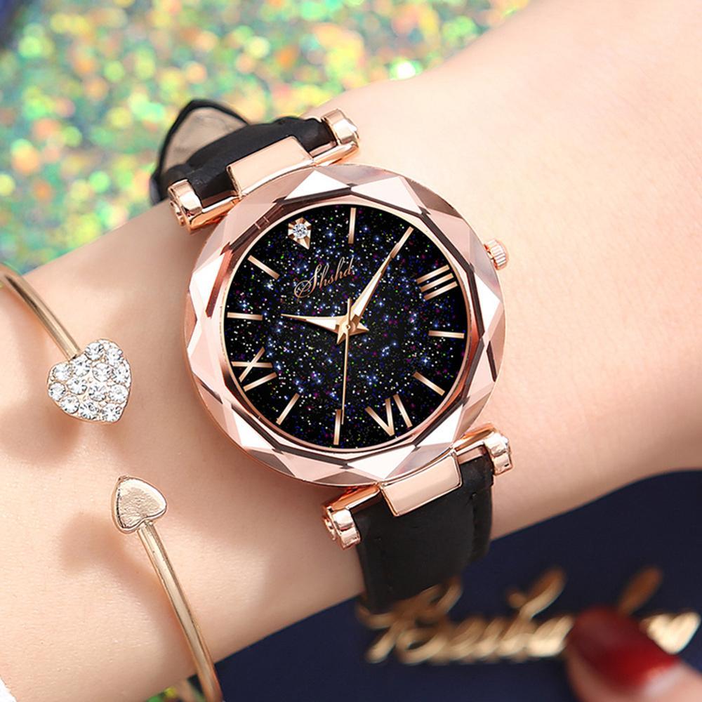 Luxury Women Watches Magnetic Starry Sky Female Clock Quartz Wristwatch Fashion Women Star Sky Round Dial Wristwatch Gift