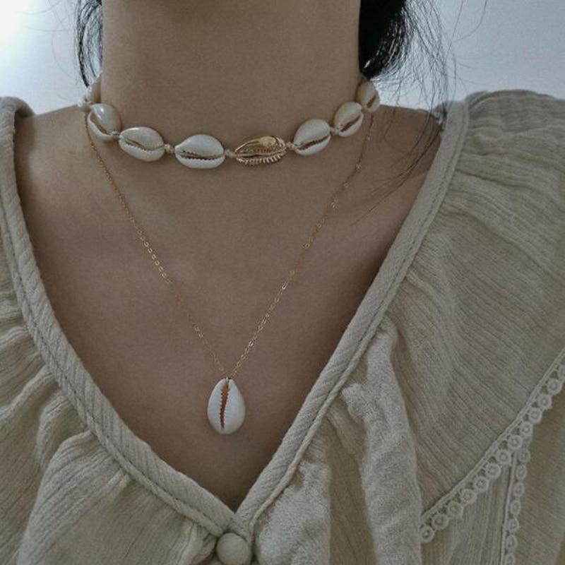 Tocona Böhmen Sommer Shell Natürliche Stein Anhänger Halskette für Frauen Gold Farbe Kette Chockers Minimalistischen Schmuck Großhandel 2356