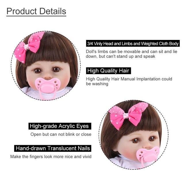 Bebe Reborn poupée 48cm réaliste tissu corps poupées à la main en Silicone souple Reborn bambin bébé poupées pour filles jouets pour enfants