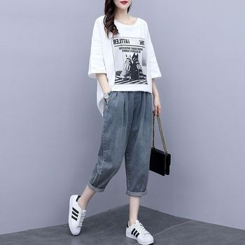 Sportsuit Women's Summer 2021 Casual Pantsuit Half Sleeve Cotton Set T-shirt Loose Skinny Harlan Jeans Casual Two Piece Set 1