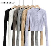 Cropped Cardigan Button-Up-Sweater Neck-Tops Long-Sleeve Purple Vintage Women Fall Casual