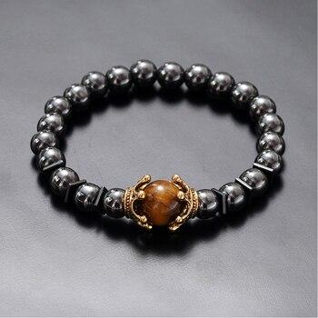 Charm Bracelet for Men Fashion Luxury Antique crown High quality Tiger eye stone bead Bracelets Jewelry Male Pulseira bileklik 4