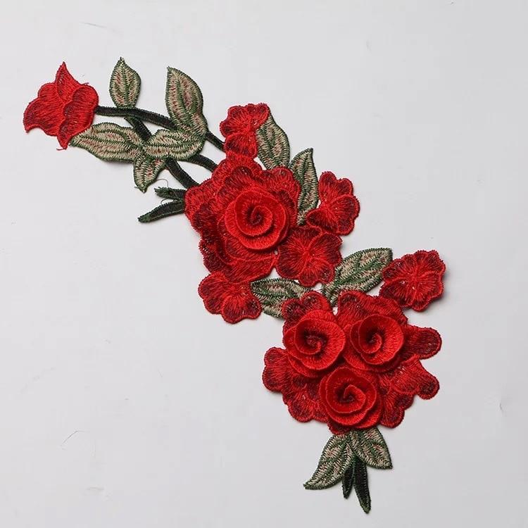 Fashion 1pcs Flowers Iron On Embroidery Patche Fleur De Lis Applique Clothes Washable Application
