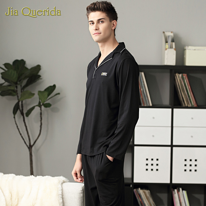 Pajamas Men Luxury Home Clothing Elegant Modal Cotton Men Sleepwear Black Solid Long Sleeve Lapel Design Plus Size Mens Pyjama