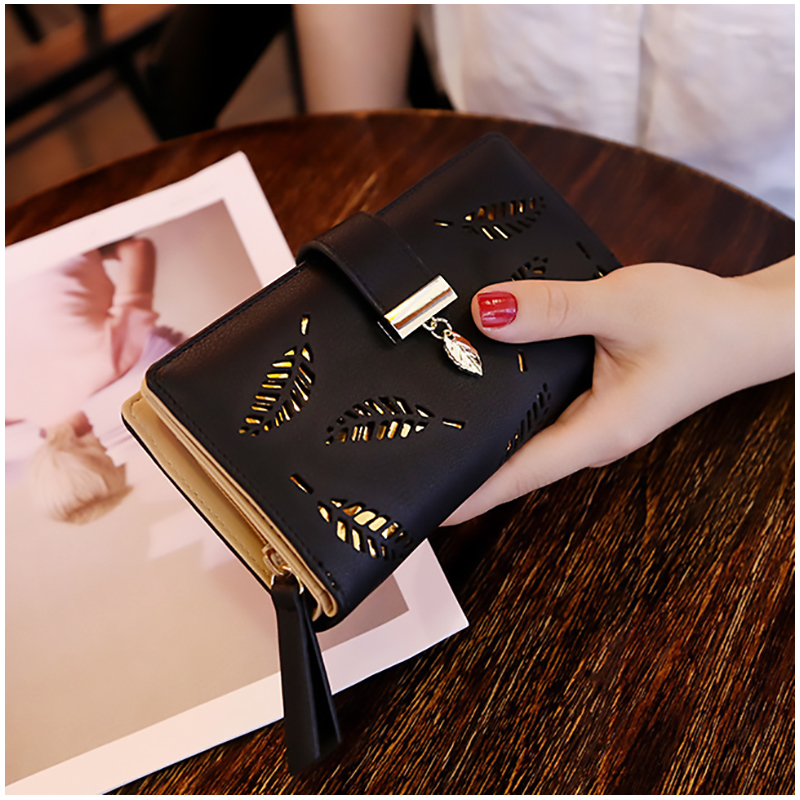 2019 Women Wallet Purse Female Long Wallet Gold Hollow Leaves Pouch Handbag For Women Coin Purse Card Holders Portefeuille Femme