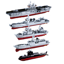 Sluban Navy Battle Ship Aircrafted Carrier ruiser Military Submarine Naval Destroyer Warship Model Building Block Toys For Kids