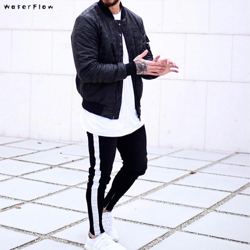 Skinny Jeans Men Hip Hop Stripe Elastic Slim Fit Denim Pants Male Stretchy Pencil Bottoms Street  Jeans