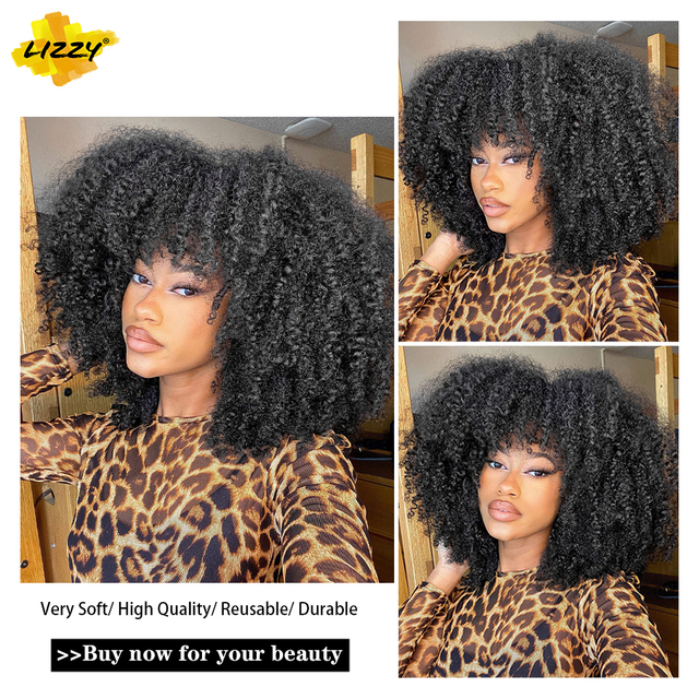 Short Hair Afro Kinky Curly Wigs With Bangs For Black Women African Synthetic Omber Glueless Cosplay Wigs High Temperature Lizzy 3