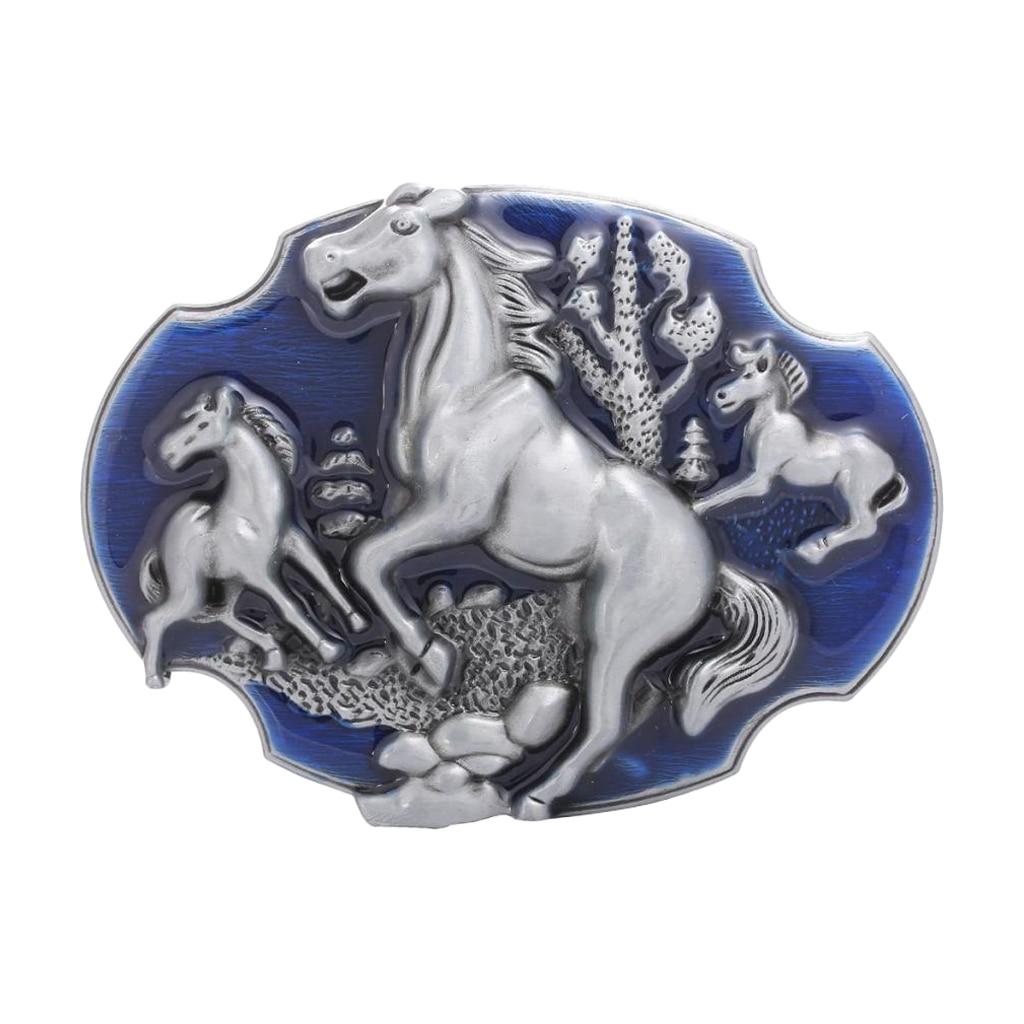Men Indian Horse Carved Belt Buckle Hip-Hop Western Cowboy Jewelry Jeans Blue Buckle Fit Belt Up To 1.4''-1.5''пряжка для ремня
