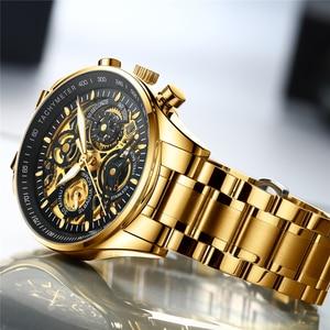 Image 2 - Nibosiメンズ腕時計レロジオmasculinoファッショントップブランドの高級クォーツ時計男性カジュアル高級防水スケルトン男性腕時計