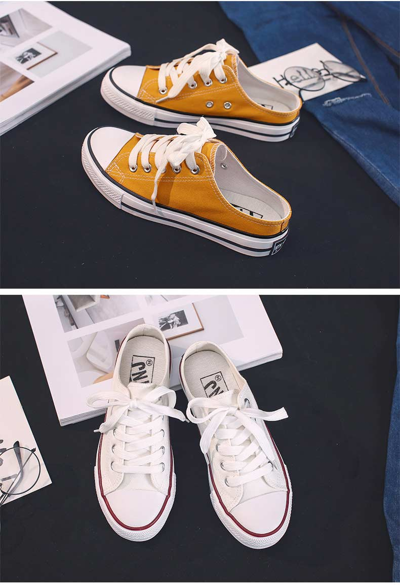 Casual half-drag canvas shoes woman 2019 new fashion solid sneakers women vulcanized shoes lace-up no heel lazy shoes flats (17)