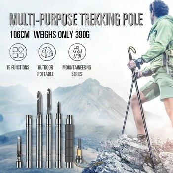 Multifunctional Walking Trekking Stick Pole Joinable Alpenstock Camping Sticks