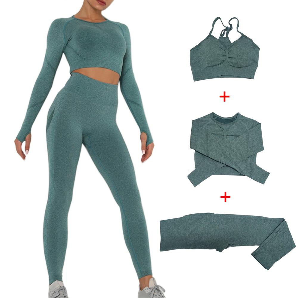 Женская спортивная одежда, комплект для йоги, бесшовные леггинсы, короткий топ с длинным рукавом, спортивный бюстгальтер, одежда для тренаж...