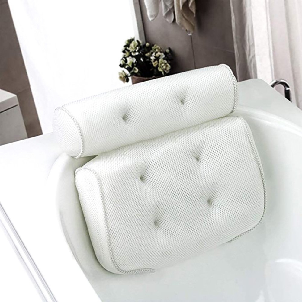 Breathable 3D Mesh Bath Pillow with Suction Cups Neck and Back Support  Pillow for Home Hot Tub Bathroom Accersories