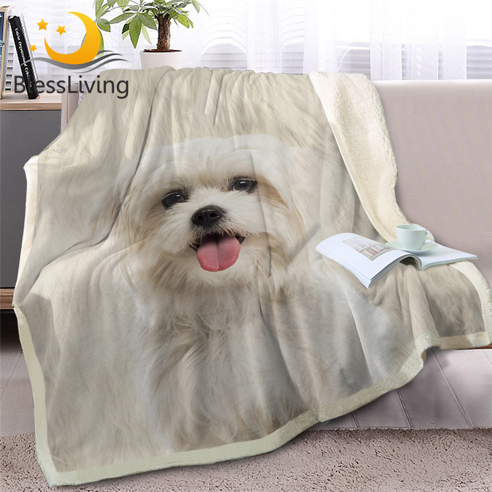 BlessLiving Shih Tzu Throw Blanket for Bed White Dog Fur Print Sherpa Fleece Blanket 3D Animal Bedding Puppy Plush Thin Quilt(China)