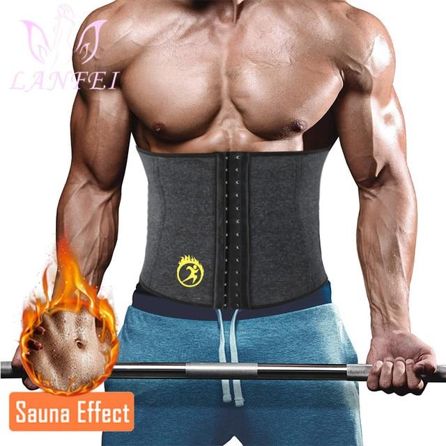 LANFEI Hot Neoprene Body Shaper Corset Men Thermo Sweat Waist Trainer Belt Weight Loss Workout Slimming Modeling Strap Vest Faja